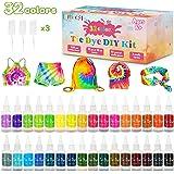lenbest 32 Color Tie Dye Kit, Tie-Dye Kit Tinte para Ropa, con 150 Bandas de Goma 12 Guantes Plástico, Pinturas Textiles de T