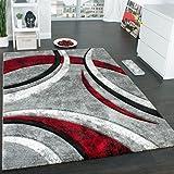 Paco Home Tapis Design à Contours Motif Ligné Moucheté Gris Noir Rouge Crème, Dimension:160x230 cm