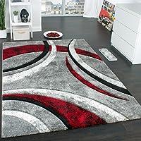Paco Home Tapis Design à Contours Motif Ligné Moucheté Gris Noir Rouge Crème, Dimension:60x110 cm
