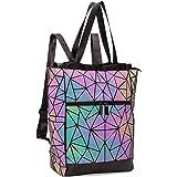 FZChenrry Geometrische Tasche Geometrischer Rucksack Damen Leuchtender Holographic Rucksäcke Reflektierend Festival Beutel NO