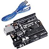 ELEGOO Uno R3 Board Atmega328P ATMEGA16U2 med USB-Kabel, kompatibel med Arduino IDE projekt, RoHS upfyllande, Svart