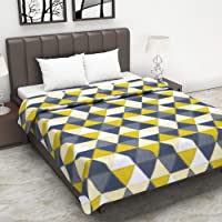 Divine Casa 100% Cotton Reversible Blanket/Duvet Easyweight, AC Double Dohar, Abstract- Yellow and Grey