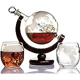 Karafka do whisky globusa zestaw karafka z wygrawerowanym światem globus na likier, burbon, wódka z 2 szklankami w pudełku pr