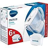 BRITAMarellablancaPack Ahorro – Jarra de Agua Filtrada con6 cartuchos MAXTRA+, Filtro de agua BRITA que reduce la cal y e
