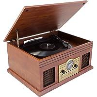 Karcher NO-036 Nostalgie Musikcenter aus Holz - Kompaktanlage mit Plattenspieler, CD-Player, Bluetooth, Kassettendeck…