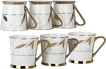 Femora Fine Bone China Premium Gold Tea Cup, Set of 6, 220ml