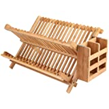 Lawei Bamboo Dish Drying Rack with Utensil Holder - Collapsible Dish Drainer Foldable Dish Rack Bamboo Plate Rack for Plates,