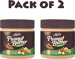 Alpino Unsweetened Natural Peanut Butter Crunch, 250g (Pack of 2)