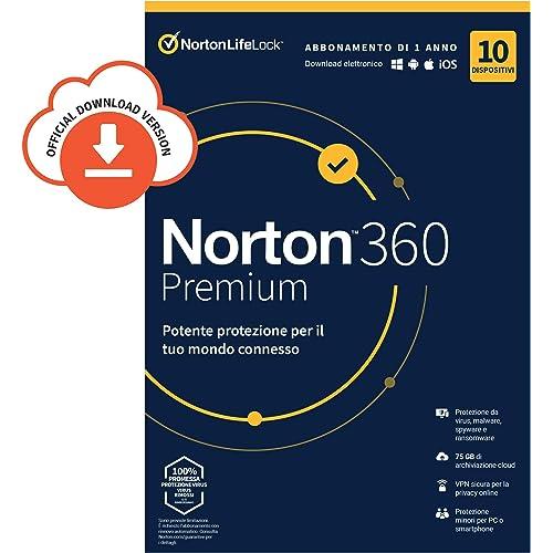 Norton 360 Premium 2021, Antivirus per 10 Dispositivi Licenza di 1 anno, Secure VPN e Password Manager PC, Mac, tablet e smartphone, Codice d'attivazione via email