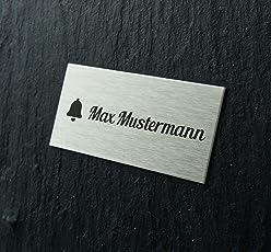 Edelstahl Türschild mit individueller Gravur 8x3,5cm / Namensschild selbstklebend/Klingelschild mit Namen für die Haustür - Keine Werbung Aufkleber/Edelstahlschilder