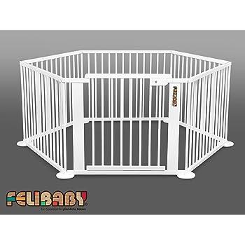 c21b97e7efe199 ONE4all 1+5 BLANC - Barrière de sécurité modulable, parc bébé, parc évolutif