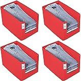 Kuber Industries 4 Piece Non Woven Shirt Stacker Wardrobe Organizer Set, Red-CTKTC31853