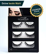 GlamourLook Professional 3D Wimpern - 3 Paar fake lashes falsche wimpern künstliche wimpern - wiederverwendbar - 100% Naturseide - Schneller Versand & Beste Qualität