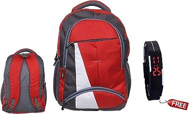 BLUTECH Canvas Red Waterproof School Bag & College LAPTOPfor Boys+ Free led