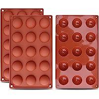homEdge Petit moule en silicone semi-sphérique de 15 cavités, 3 moules de cuisson pour la fabrication de chocolat…