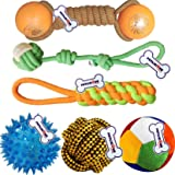 Petlicious & More Cotton Thee Rope Toys with LED, Sound Ball for Puppy (Combo Pack of 6)