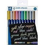 STAEDTLER 8325 TB10 metallic kalligrafie pennen, portemonnee van 10 verschillende kleuren