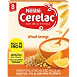 Nestlé CERELAC Fortified Baby Cereal with Milk, Wheat Orange – From 8 Months, 300g BIB Pack