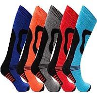 5 Pairs Mens High Performance Thermal Ski Socks - Multicoloured - Mens UK Size 6-11 (EU 39-45)