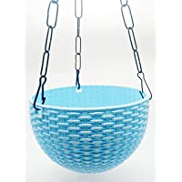 Oshi Greens Hanging Flower Pot Basket with Hook Chain for Home Gardener Grower Planter Office Balcony - 2 Pack (Blue)