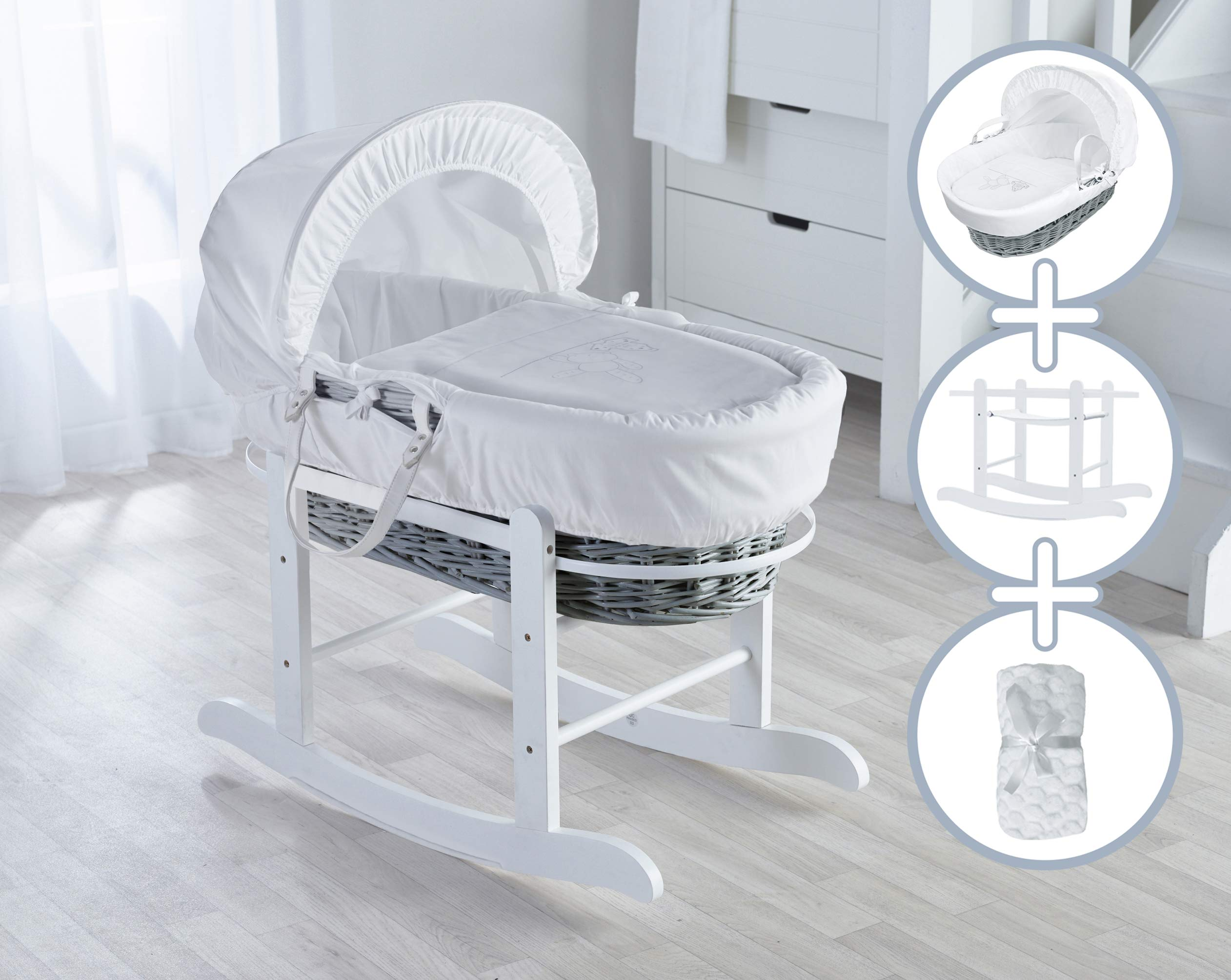 White Teddy Wash Day Moses Basket, Deluxe Rocking Stand and Honeycomb Blanket Bundle Deal Elegant Baby Stylish Elegant Baby Exclusive moses basket Opulent cotton blend fabric with a luxurious soft padded surround Baby Essentials Bundle containing hooded towel, fleece blanket and cellular blanket 1