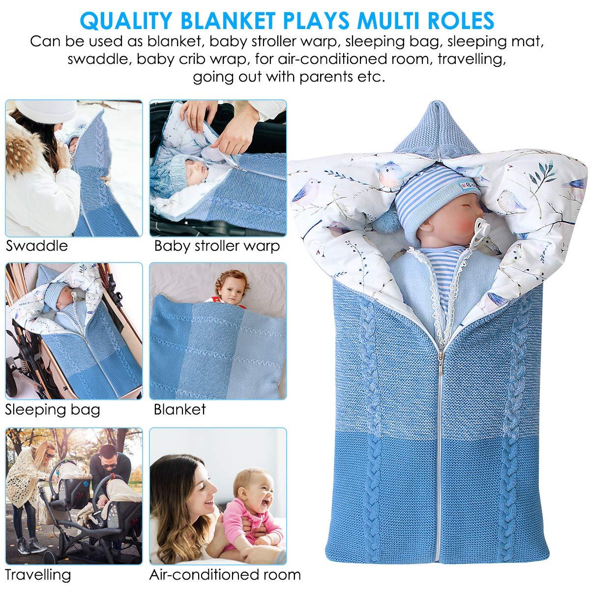 manta de cochecito de beb/é Azul manta de beb/é reci/én nacido saco de dormir c/álido de invierno para beb/és o ni/ños de 0-12 meses