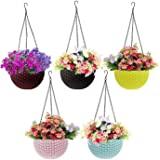 Go Hooked Plastic Hanging Pot, Multicolour, Pot Diameter -7.1 Inch, Pot Height -4.8 Inch, Pot Thickness -3 mm, Chain Length -