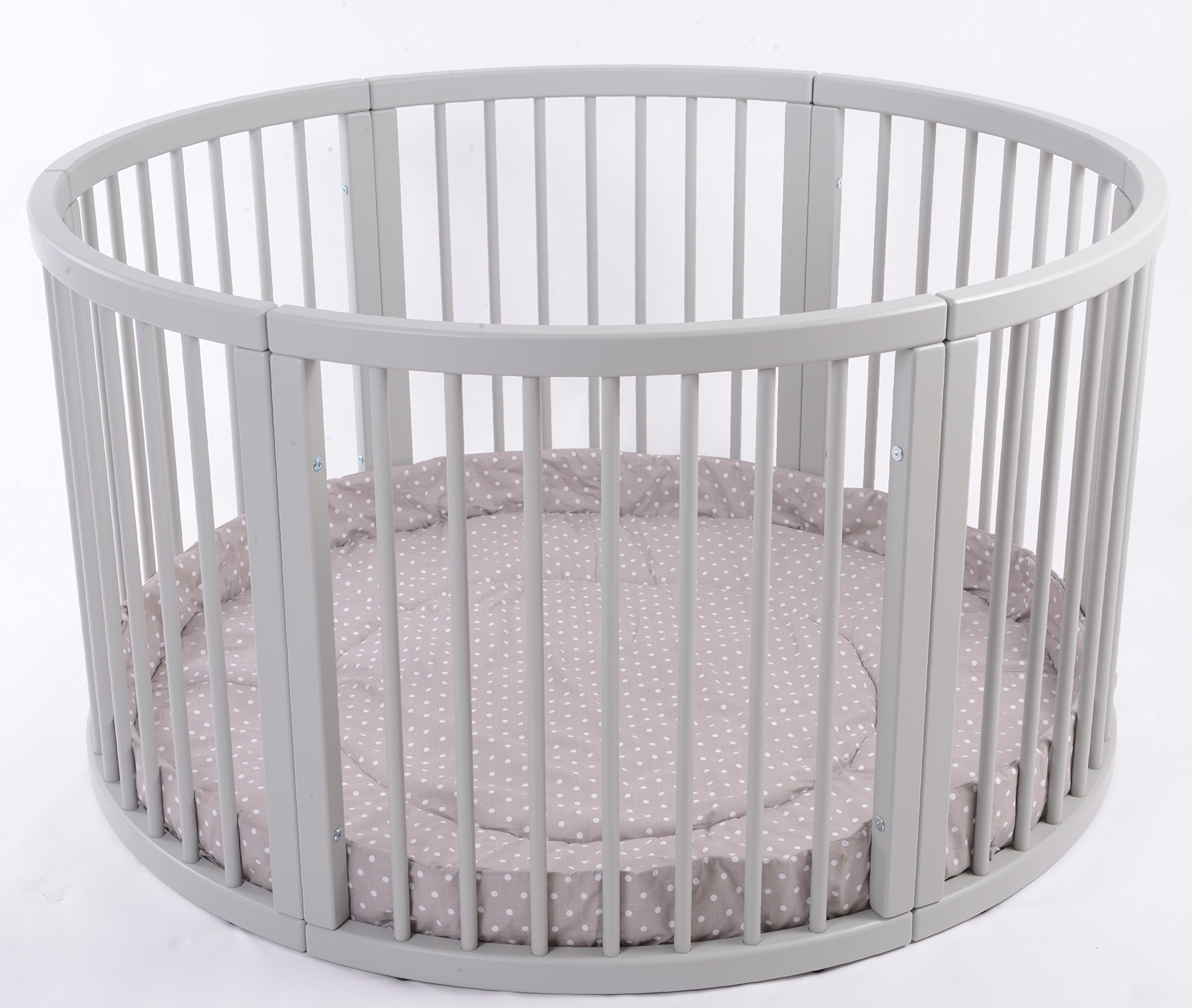 MJmark VERY LARGE Wooden Round PLAYPEN ATLAS QUATTRO with play-mat in Cappucino with white Polk Dots SALE SALE  Height 70 cm approx; Ø 120cm Playmat included made from solid hard wood (Birch) 2