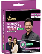VCare Shampoo Hair Color Black, 15 ml (Pack of 10)