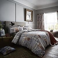 Catherine Lansfield Heritage de Chicago Housse de Couette, 100% Coton, Gris, 220 x 240 + 80 x 80 (2)