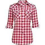 Unibelle - Blusa de manga larga para mujer, casual, de algodón, cuello en V, con mangas ajustables