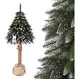 FairyTrees Weihnachtsbaum künstlich im Topf FICHTE NATURSTAMM, Weiss beschneit, Material PVC, Baumstamm aus echtem Holz, 180cm