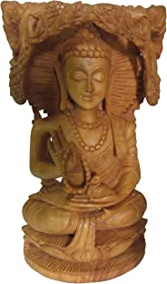 eCraftIndia Meditating Lord Buddha (8 in, Brown)
