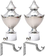 Easyhome Furnish Metal Silver Curtain Brackets With Support, Set Of 2