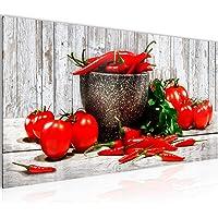 Bilder Küche - Gemüse Wandbild Vlies - Leinwand Bild XXL Format Wandbilder Wohnzimmer Wohnung Deko Kunstdrucke Blau Grau…