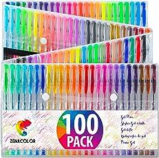 Zenacolor (60 oder 100) Gelschreiber Gelstifte Set mit Etui - Extra großes Set – Einzigartige Farben (keine Duplikate) – mit hochwertiger leicht fließender Tinte - toll für Malbuch für Erwachsene