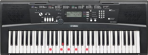 Yamaha EZ-220 Digital Keyboard (61 anschlagdynamische Tasten mit Beleuchtung)  inklusive Netzteil