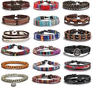 Finrezio 18 Pcs Bracelet Tressé Perles Cuir Bracelet pour Femme Homme Cordon Bracelet Boho Ethnique
