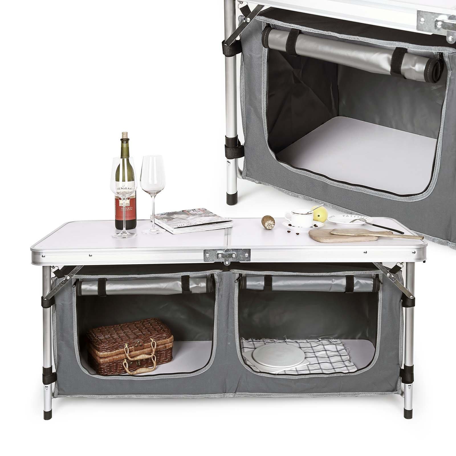 WilTec Mobile Mobiletto Cucina da Campeggio Pieghevole - van ...
