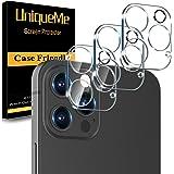 [3-pack] UnqiueMe kameralinsskydd kompatibelt med iPhone 12 Pro (6,1 tum), ultraklart tunn [full täckning] [bubbelfri] 9H hår