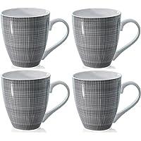 Sketch Set of 4 Mugs Porcelain Extra Large Coffee Soup Hot Cocoa Mugs (Grey)