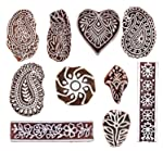 Hashcart Mughal Design Wooden Printing Stamp Block Hand Carved for Saree Border Making Pottery Crafts Textile Printing