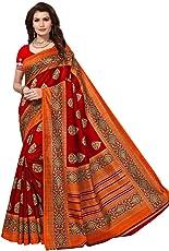 AKSHAR STORE Women's Bhagalpuri Saree (Red and Multicolour, Free Size)