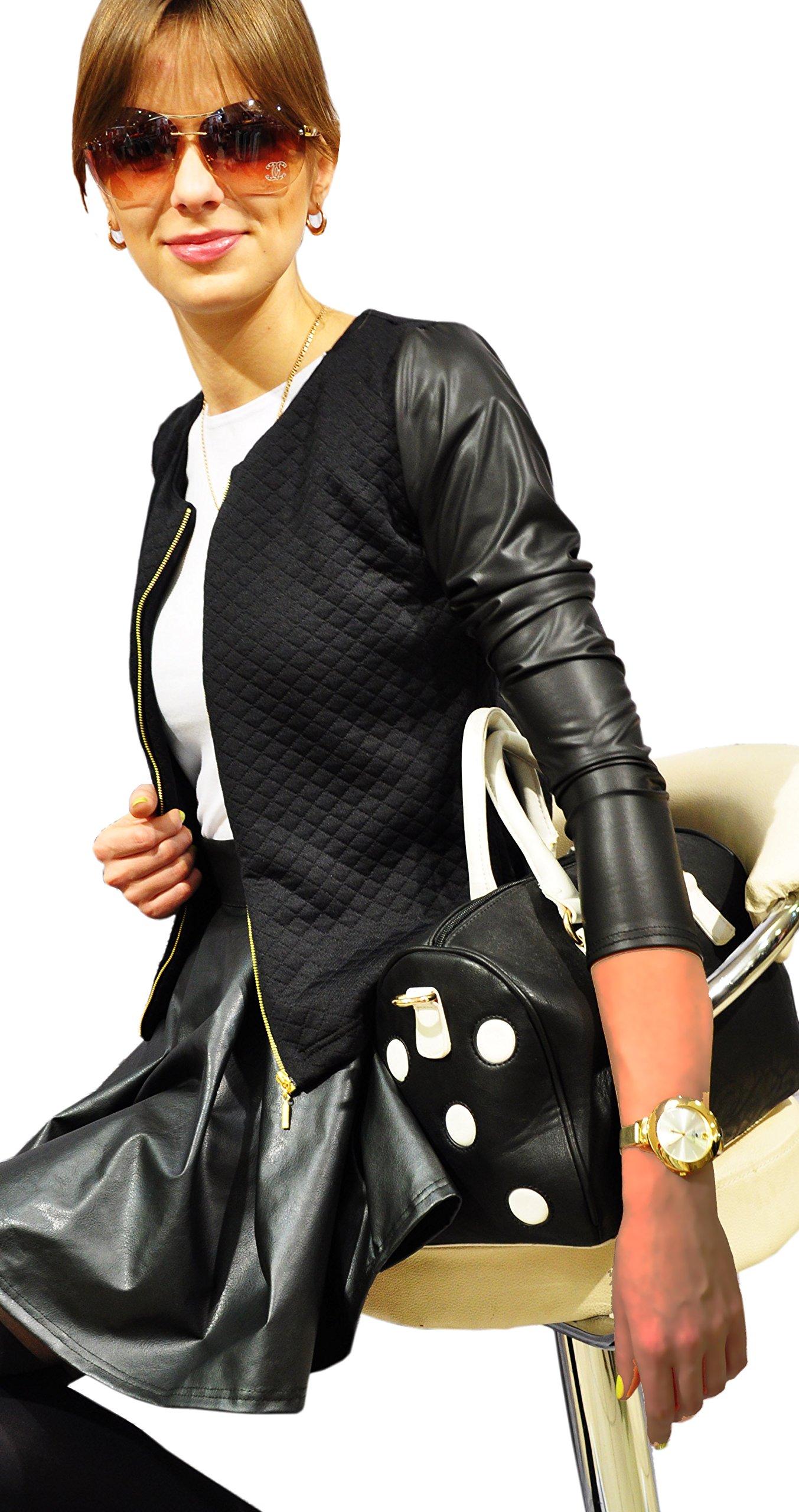 5b67b5cea581c Bello ed Elegante Cardigan Bolero da Donna Giacca trapuntata con con Zip e  Maniche in ecopelle