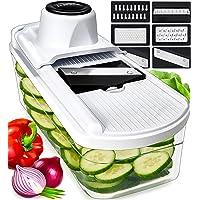 6 in 1 Mandoline de Cuisine avec Récipient en Verre - Multifonction Coupe Legume Mandoline Cuisine pour Légumes Fruits…