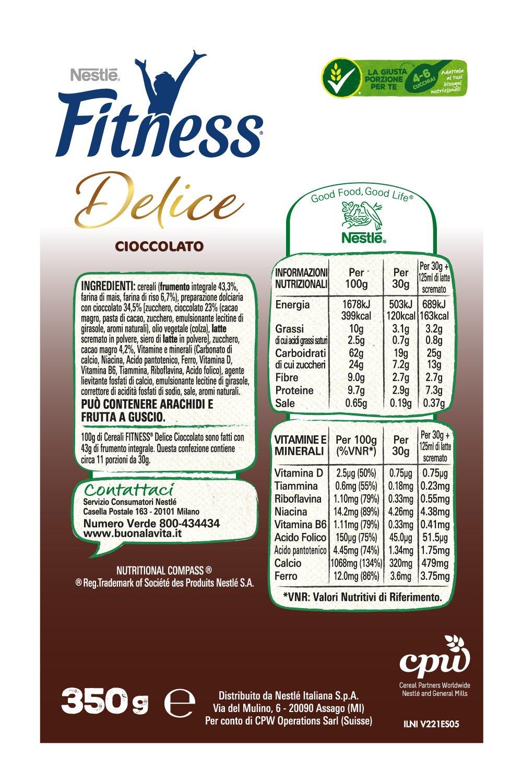 Fitness Delice Cioccolato Cereali Croccanti con Cuore Morbido al Cioccolato, 350 g 3 spesavip