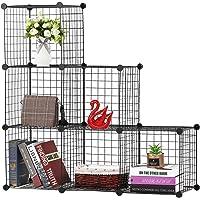 BASTUO Meuble de rangement à 6 cubes en fil de fer pour étagère, bibliothèque, paniers modulaires, placard pour jouets…