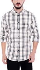 Dennis Lingo Men's Checkered Navy Blue Slim Fit Casual Shirt