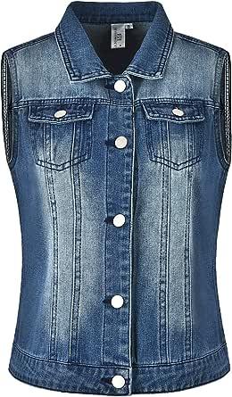 MISS MOLY Giubbotto Jeans Donna Gilet Denim Jeans Strappati Retro Panciotto