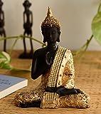 eCraftIndia Handcrafted Meditating Lord Buddha Polyresin Idol (15 cm x 7.5 cm x 20 cm, Golden)